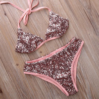 Fashion 2 Piece Set Womens Pink Push Up Sequins Bikini Set Sexy Beach Swimsuit