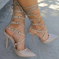 Ladies Rivet Lace Up Heels