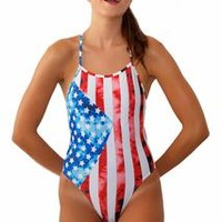 Printed Dayno 2 Tie-Back Onesuit - Stars & Stripes