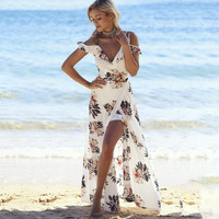 2017 Summer Spaghetti Strap Print Split Prom Dress Sea Vacation Ruffle One Piece Dress [10907675279]