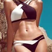 Crisscross Double Colored Bikini Swimsuit - OASAP.com
