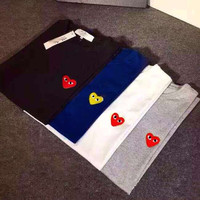 CDG PLAY Couple t-shirt Red Heart T shirt brand clothing heart casual shirt Comme Des Garcons PLAY T shirts heart tee shirts