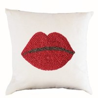 """Amore Beaute Decorative Throw Pillow Cover in White Linen Handcrafted with Beads - Lips Pillow Case - Pop Art Designer Pillow Cover - Gift (14"""" x 14"""")"""