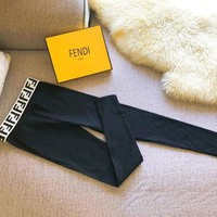 FENDI Popular Women Casual Letter Print Stretch Pants Trousers Leggings