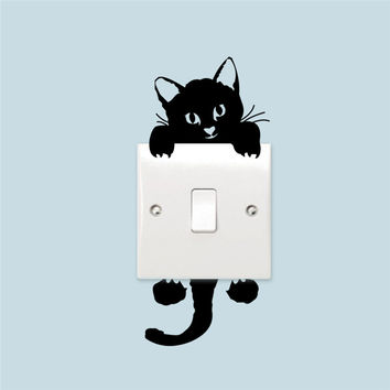 Cute Funny Cat Switch Stickers Home Decoration Wall Decal