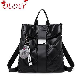 2020 New Fashion Retro Multifunction Backpack Women Plaid Leather Backpack Lady Small Travel Backpack Bookbag for Girls Sac A Do
