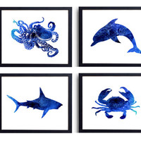 Set of 4 Prints Octopus, dolphin, crab, shark Watercolor Nautical Art, Beach Art Coastal Decor, Sea Life Art, Bathroom Decor, Ocean Art *34*