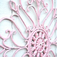 Pink Ornate Wall Scroll / Pink Bedroom Bathroom / Outdoor Patio Decor / Decoration for Fence / Cottage Chic Little Girl Room Wall Hanging