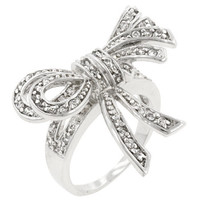 Large Cz Bow Ring