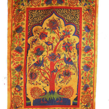Indian Hippie Mustard Color Peacock Tree of Life Mandala Home Decor Wall Hanging Tapestry