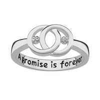 Sweet Sentiments Sterling Silver Diamond Accent Openwork Ring (Grey)
