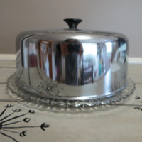 Glass Cake Plate with Lid Appetizer Plate Chrome Cake Server Vintage Kitchen Covered Cake Plate Vintage Cake Platter Covered Plate