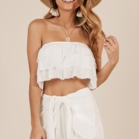 Kira Two Piece Set in white Produced By SHOWPO