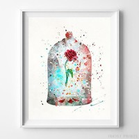 Cursed Rose Beauty and the Beast Disney Watercolor Poster Home Decor UNFRAMED by Inkist Prints