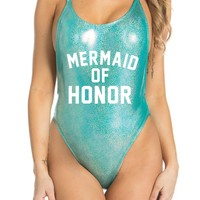 Mermaid of Honor Suit- Pink-Blue Glitter High Cut Vintage Swimsuit - One piece -Swimwear Women's Sexy Bathing Suit CakeLife®