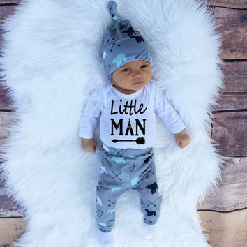 2016 Autumn new baby boy clothes set cotton long-sleeved Romper + trousers + hat  3 pcs. newborn baby boy clothes set SY161