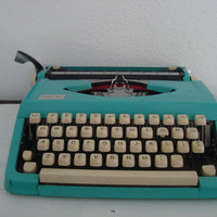 Retro Turquoise Typewriter - Midcentury - Mad Men - Vintage Office Decor - Deluxe 100 - Aqua Teal - Man Cave - Kmart - S S Kresge - Kitsch