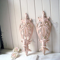 Vintage Pink Ornate Sconces, Pair of Candle Holders, Ornate Baby Pink and Gold Candlestick Holders, Wall Sconce, Syroco, Shabby Chic Decor