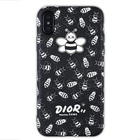 Dior x Kaws co-branded letter bee iPhone XS Max mobile phone case cover Black