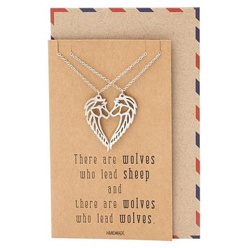 Jurnee Matching Wolf Pendant Necklace Relationship Goals Gifts with Greeting Card