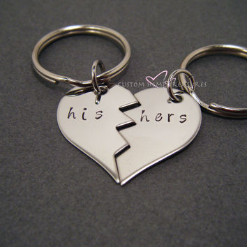 Broken Half Heart Keychains, His Hers Keychain, LDR Gift, Long Distance Relationship , Anniversary Gift