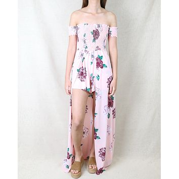 Ellie Floral Smocked Off The Shoulder High Low Romper in Pink