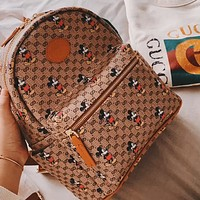 GUCCI x DISNEY Co-branded Vintage Presby Print Large Capacity Men and Women Backpack