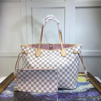 LV Tide brand women's high quality classic checkerboard print shopping bag two-piece
