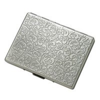 MG Gifts Single - Sided Silver Cigarette Case Holder - 9