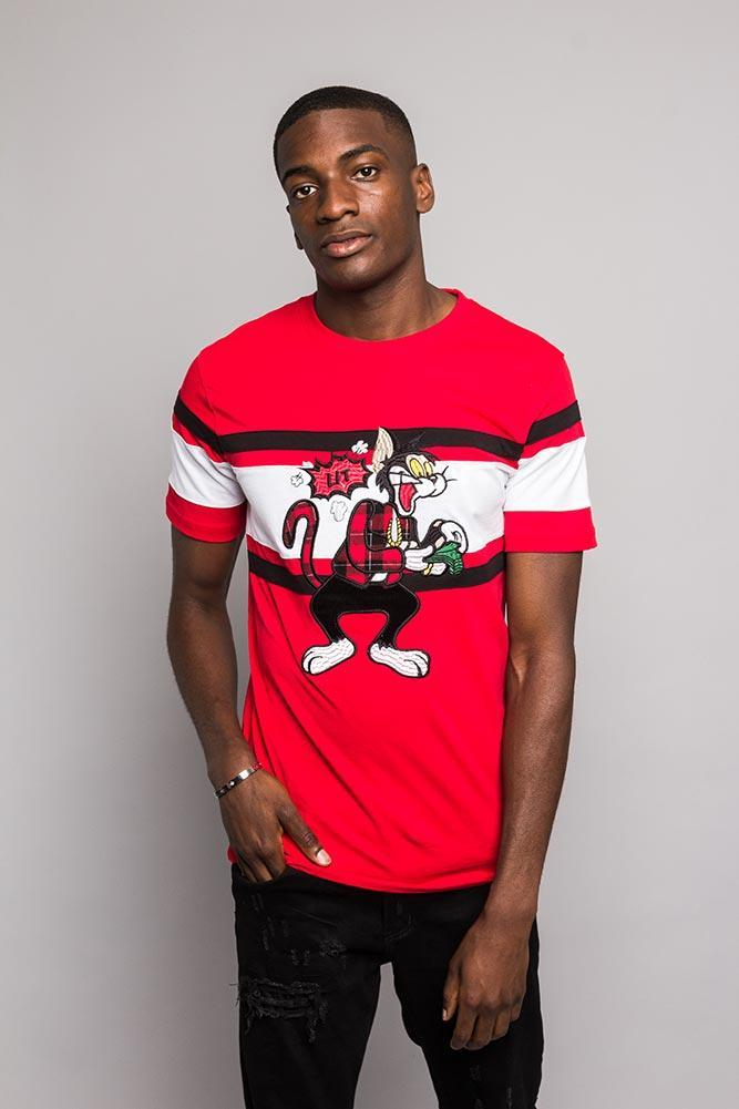 Image of Color Blocked Embroidered Lit Money T-Shirt