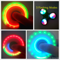 New LED Fidget Spinner with Power Switch Triangle Finger Spinning Decompression Fingers with Cool Flash Mode LED Light Hand Finger Spinner