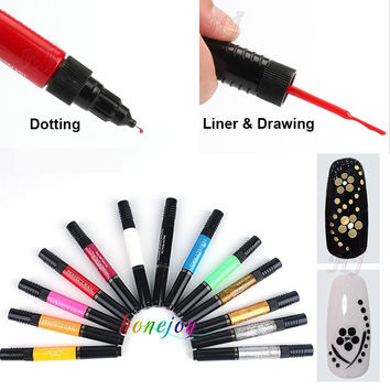 12 Colors Two-way 3D Acrylic Nail Polish Pen Dotting Brush Pure Solid Glitter Gel Nail Art Painting Kit DIY Design Drawing Set
