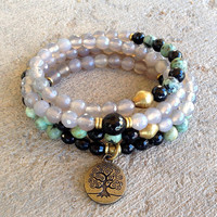 108 bead mala, grey agate and african turquoise wrap bracelet or necklace