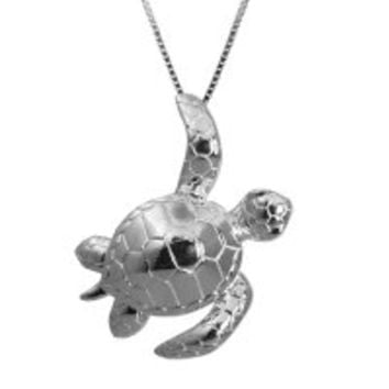 """Sterling Silver Turtle Honu Necklace Pendant with 18"""" Box Chain"""