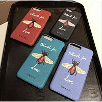 GUCCI Bee Fashion Print Embroidery iPhone Phone Cover Case For iphone 8 8plus iPhone6 6s 6plus 6s-plus iPhone 7 7plus