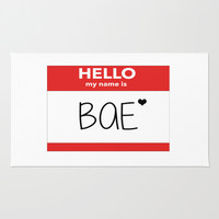 Hello My Name is Bae Area & Throw Rug by Poppo Inc. | Society6