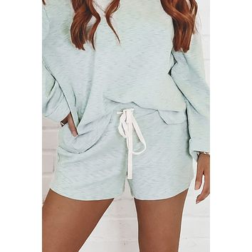 With You Pistachio Knit Sweater Shorts