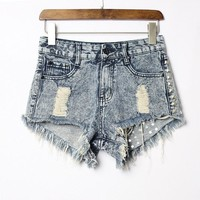 Hot Shorts 2017 Women's Fashion Vintage Tassel Ripped Loose High Waisted Short Jeans Punk Sexy Hot Woman Denim  free shipping C0471AT_43_3
