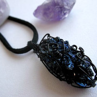 Rough Silicon Carbide Mineral Necklace - Black Wire Wrapped