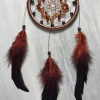 Brown Dreamcatcher - Brown Dream Catcher with plastic beads - Nursery Decor