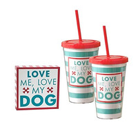 Dog Lover's Gift Set - Two Plastic Jumbo Thermal Travel Tumblers with Straws and Decorative Box Sign (Love Me Love My Dog)