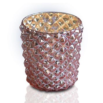 Zariah Mercury Glass Tealight Holder (Rose Gold Pink, Single) For Use with Tea Lights - For Home Decor, Parties and Wedding Decorations - Mercury Glass Votive Holders
