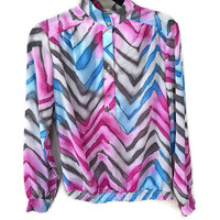 Awesome 80s Blouse, Blue & Pink Zig Zag Watercolor Vintage Blouse, Fun Vintage 1980s Blouse Wild Patterned Blouse Magenta Blouse Funky 80s L