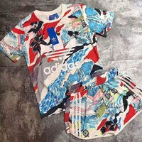 Tagre Adidas Print Short sleeve Top Shorts Sweatpants Set Two-Piece Sportswear