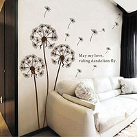 Sangu Love Dandelion Fly Removable Mural Wall Stickers Wall Decal for Home Decor