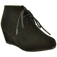 Kids Ankle Boots Faux Suede Low Heel Casual Wedges black