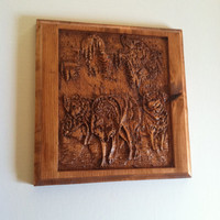 Reclaimed Wood Wall Art with Wolves - Carved Wood Wolves - Home Decor - Rustic