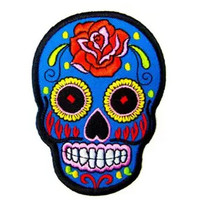 BLUE Mexican Sugar Skull Awesome Cool Embroidered Iron On Patches