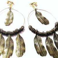 """5"""" Gold Plated Four Feathered Hoop Clips-on Handcrafted Earrings"""