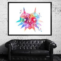 Majora's Mask Legend of Zelda Watercolor Print, Horizontal Wall Art Poster, Giclee Illustration, Wall Decor, Art Home Decor, Wall Hanging